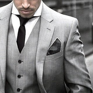 Black Tie And Pocket Square Guy With Cool Grey Suit Clothing Style