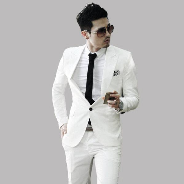 Black Tie With White Suit All White Outfits For Men