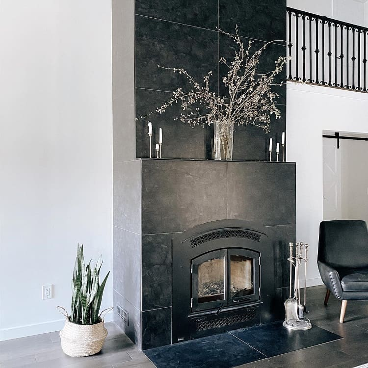 Black Tile Fireplace Mantel Decor Irenetkachuk