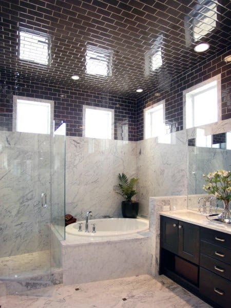 Black Tile High Ceiling Bathroom Ideas