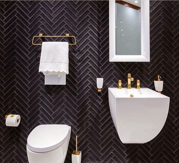 Black Tile Wall Half Bath Ideas