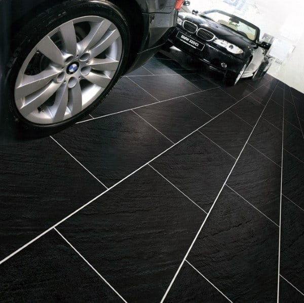 Black Tile With White Grout Mens Home Garage
