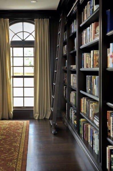 Black Traditional Floor To Ceiling Bookshelves Ideas