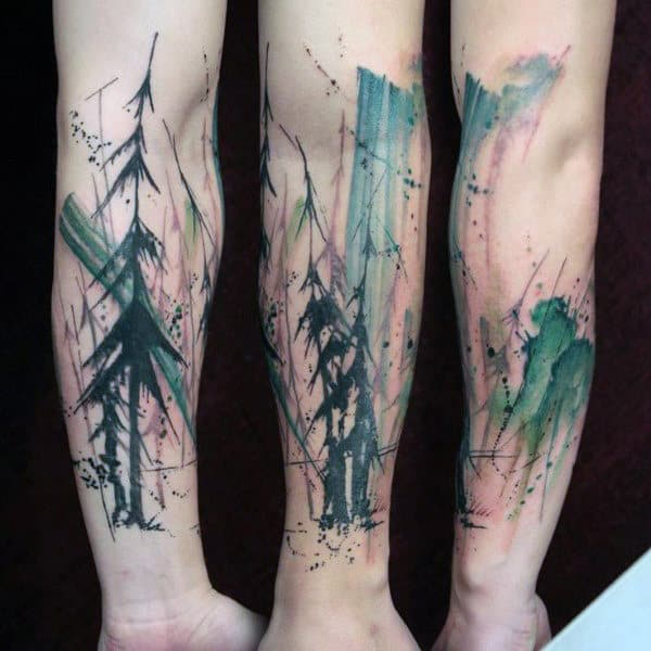 Black Trees With Spikes Watercolor Tree Tattoo Male Forearms
