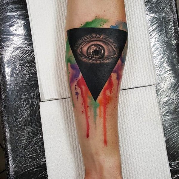 Black Triangle Eye And Splashed Colors Tattoo Male Forearms