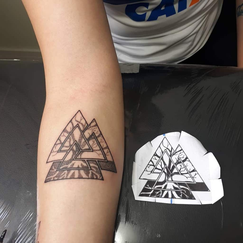 black triangle yggdrasi arm tattoo
