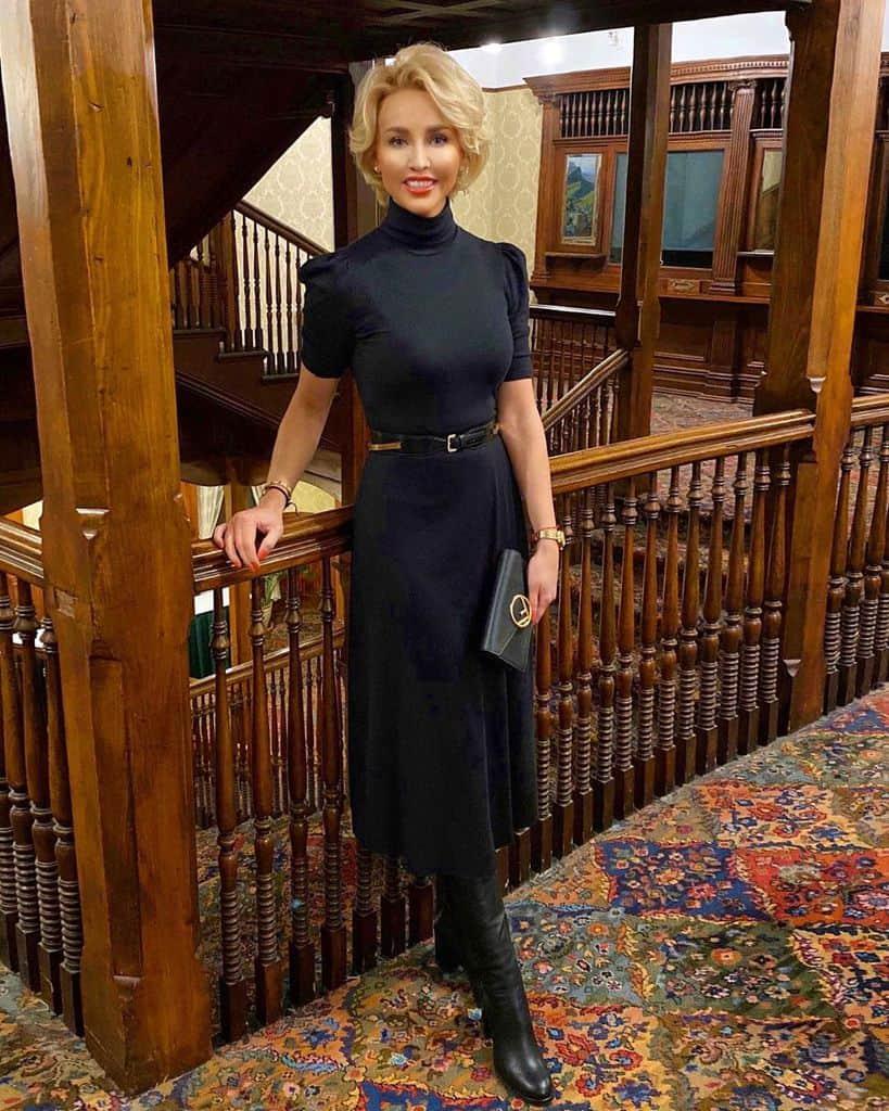 Black Turtle Neck Victorian Dress