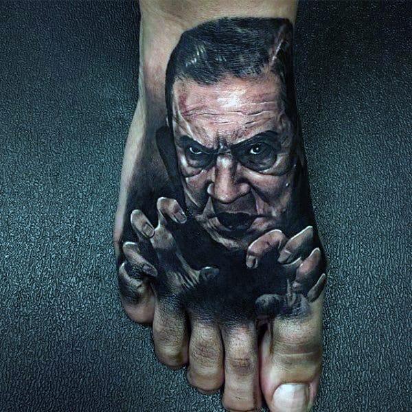 Black Vampire Mens Foot Tattoos