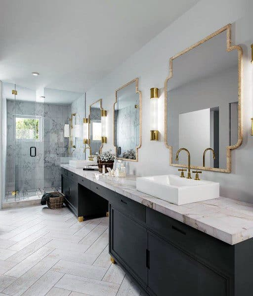 Black Vanity Cabinets With Gold Mirrors Master Bathroom Ideas