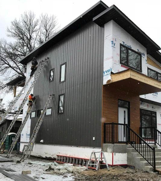 Black Vertical Metal Panels Exterior House Siding Design