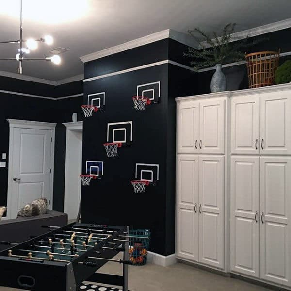 Black Wall Paint With Basketball Hoops Mens Room Ideas