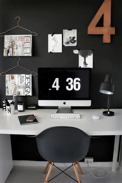 Black Wall Retro Small Home Office Ideas