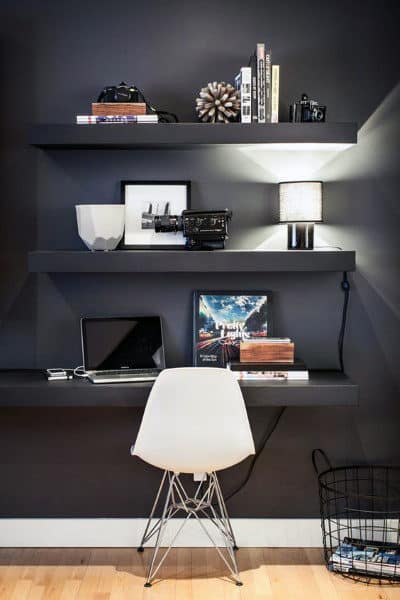 Black Wall Small Home Office Ideas