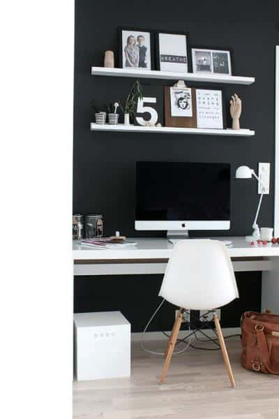 Black Wall With White Shelving Mens Small Home Office Ideas