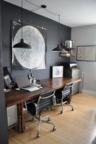 black wall with wood design and industrial lighting small home office ideas