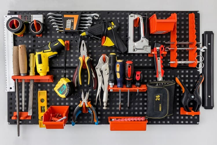 Black Wall Workshop Garage Pegboard Ideas
