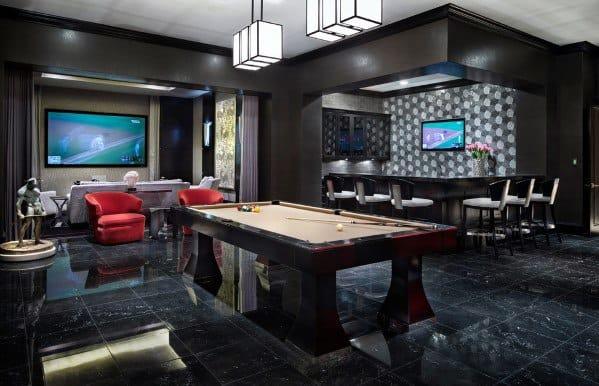 Black Walls Basement Billiards Room Ideas