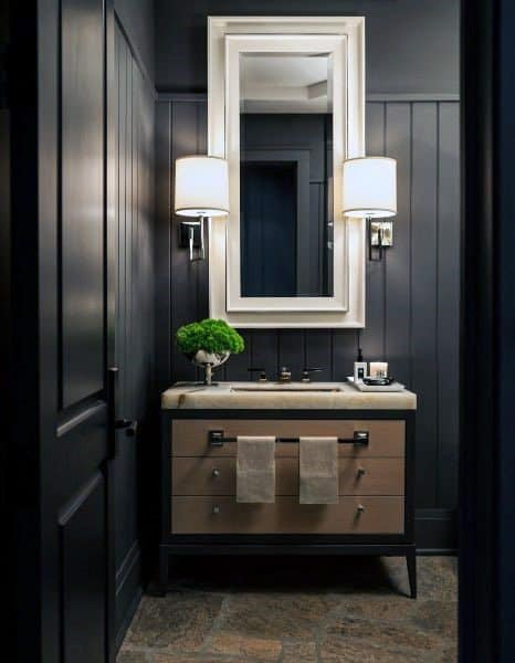 Black Walls Elegant Half Bath Ideas
