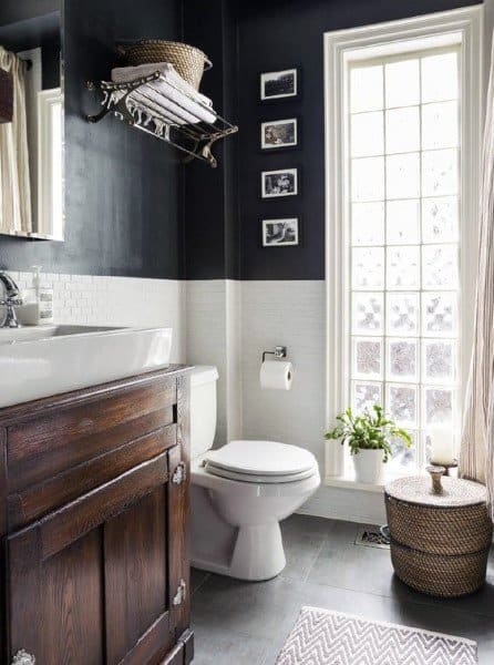 Black White And Brown Half Bath Ideas