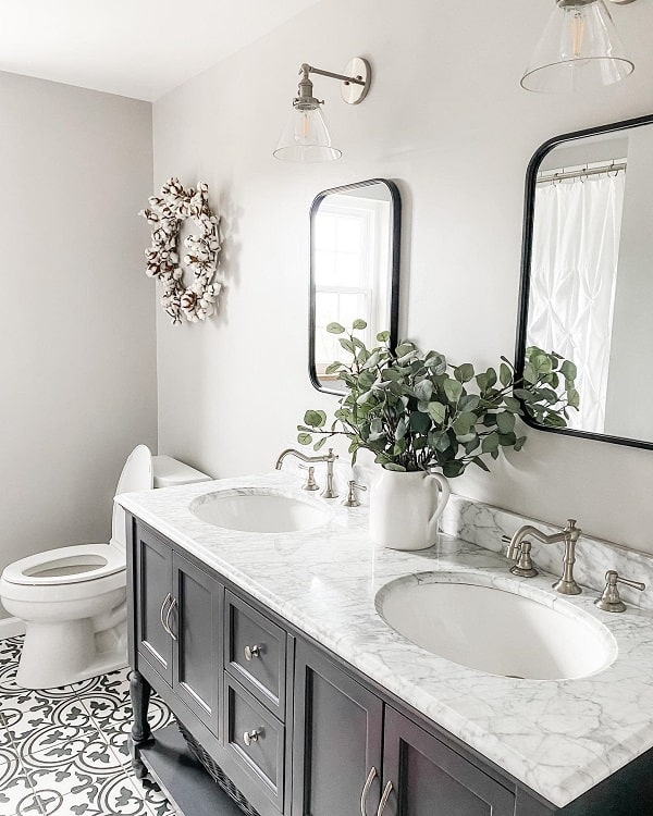 Black White Farmhouse Bathroom Vanity Allthingsandres