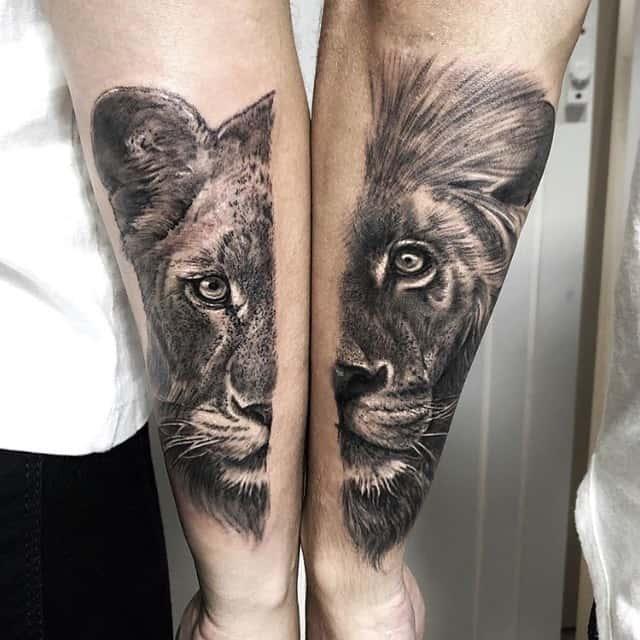 Black White Ink Lioness Tattoo