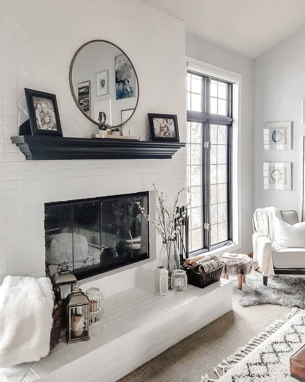 Black White Modern Brick Fireplace Surround Mixedmodernliving