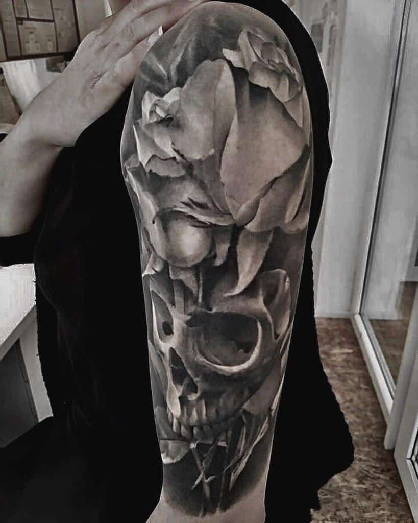 black-white-skull-and-rose-death-tattoo-gdvillalon