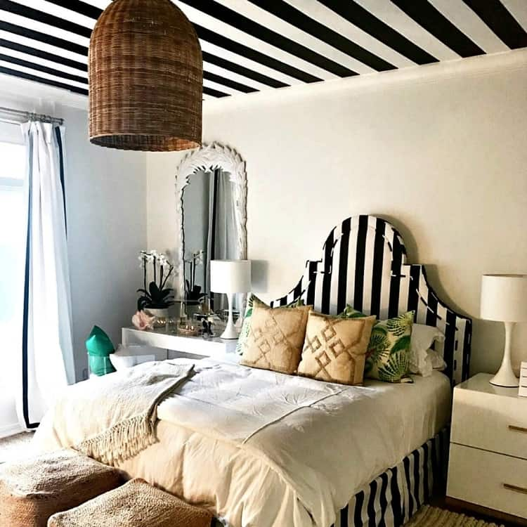 Black White Stripe Painted Ceiling