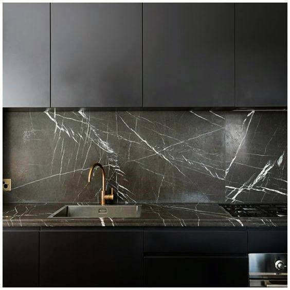 Black With Marble Kitchen Cabinet Ideas