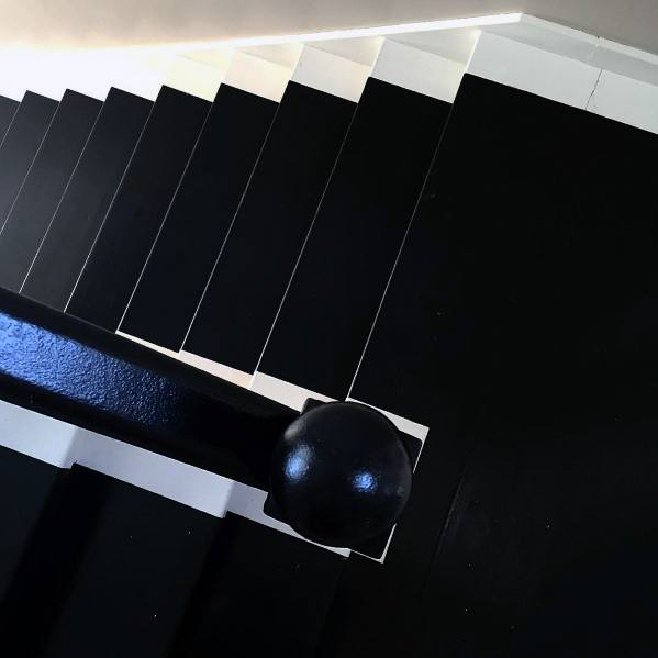 Black With White Trim Designs Painted Stairs