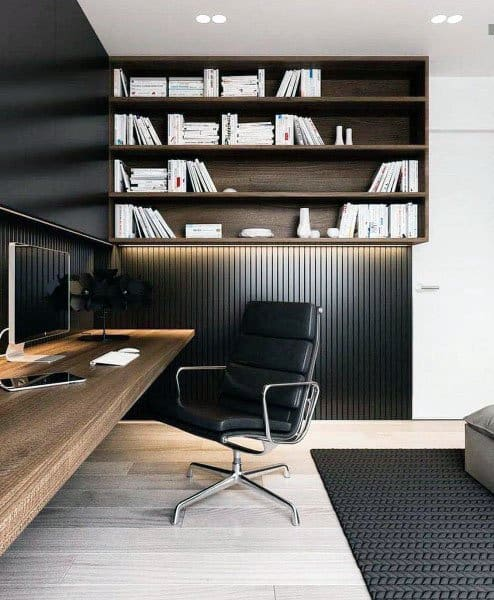 black with wood modern home office - Modern Home Office