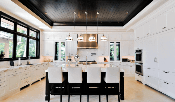 Black Wood Planks Interior Designs Kitchen Ceilings