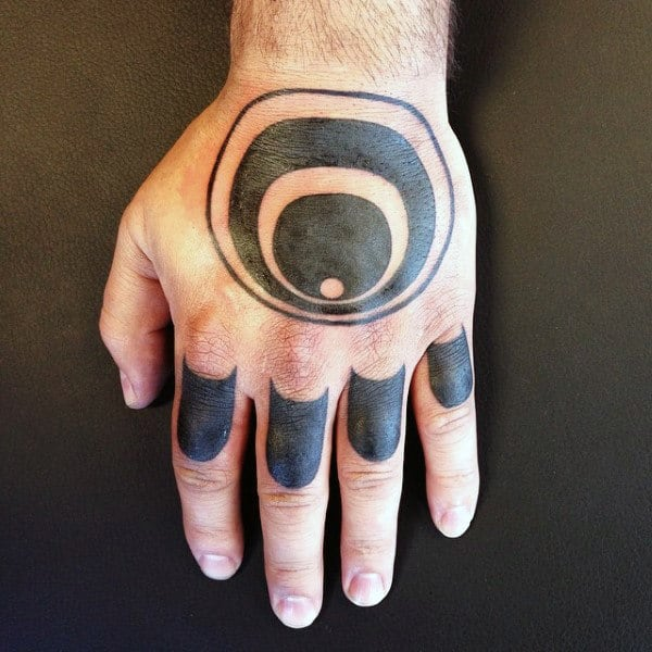Black Work Abstract Knuckle Tattoo Design Ideas For Guys