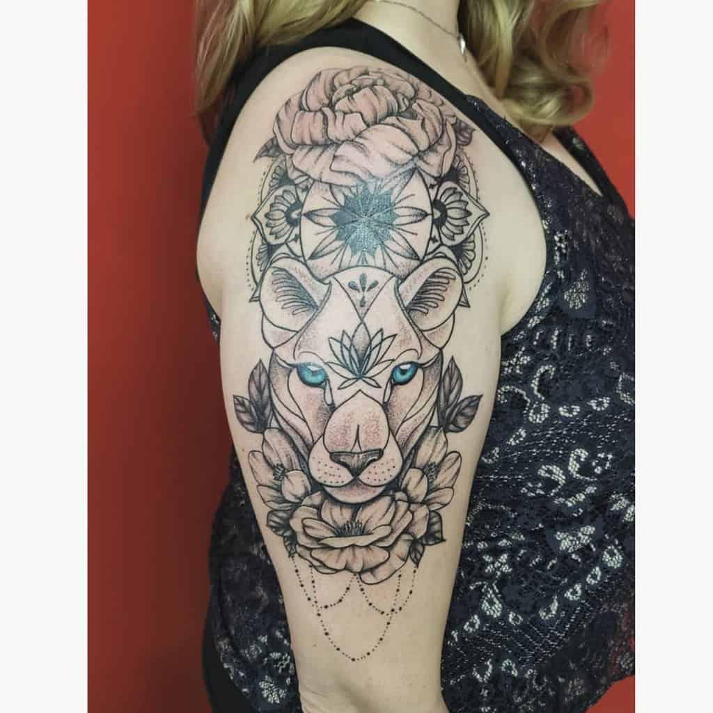 Black Work Arm Piece Lioness Tattoo