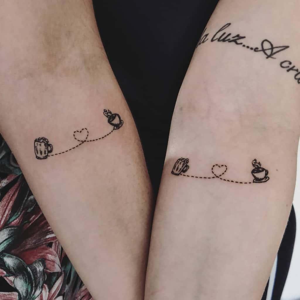 Black Work Coffee Friendship Tattoo