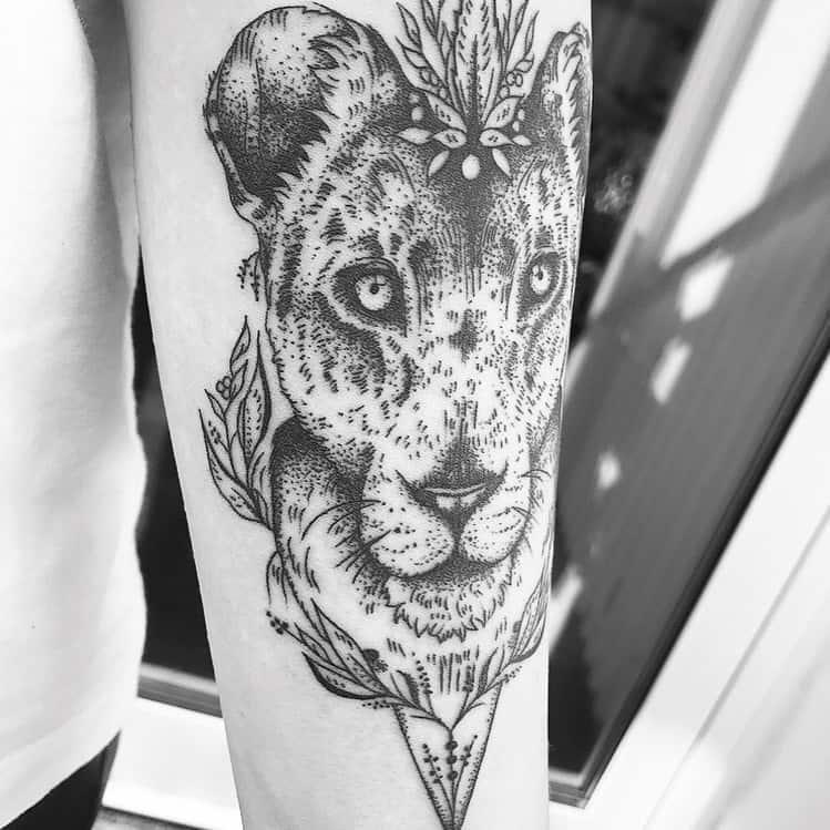 Black Work Dot Lion Tattoo