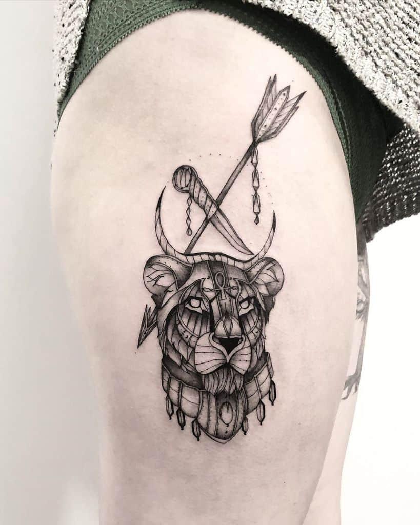 Black Work Fine Line Lion Tattoo