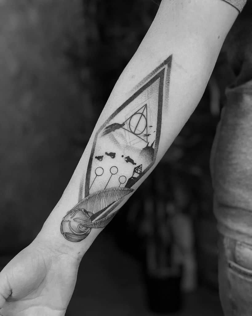black work greyscale harry potter deathly hallows tattoo