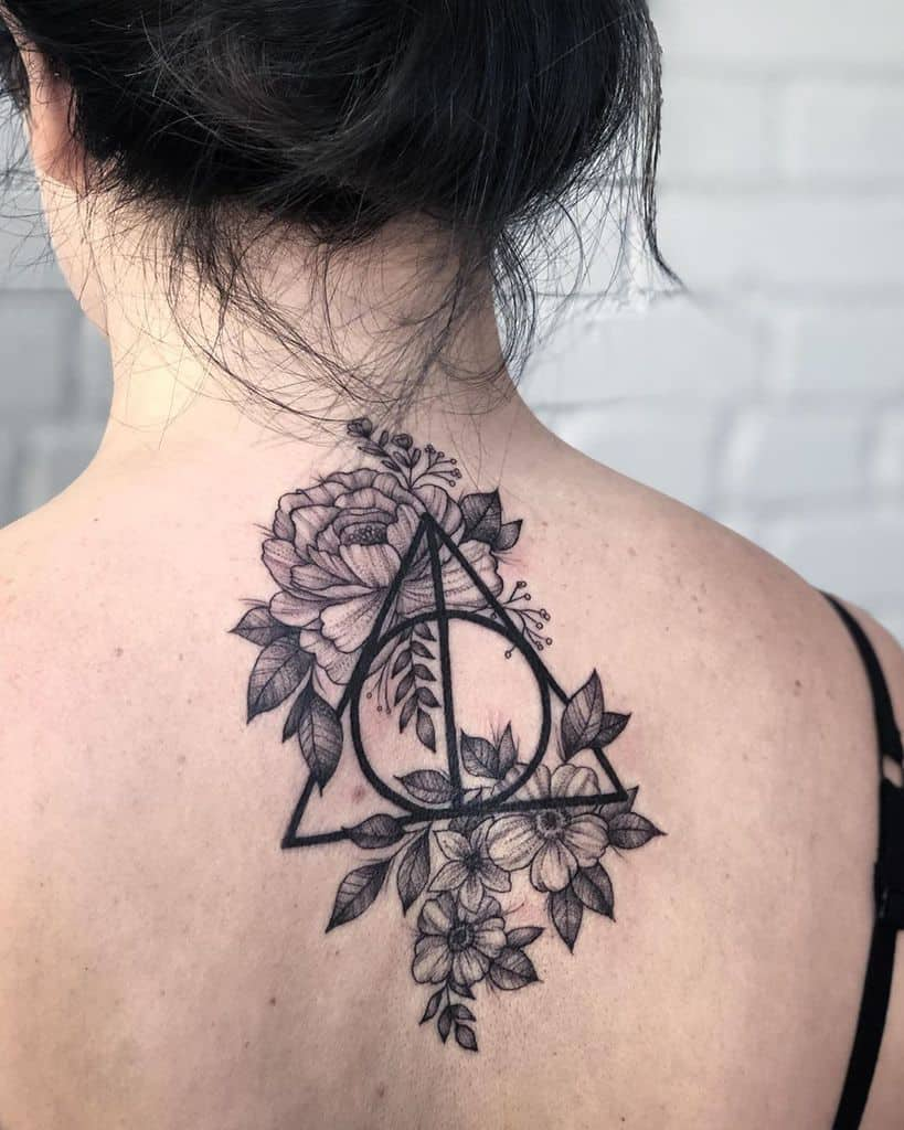 black work harry potter deathly hallows tattoo