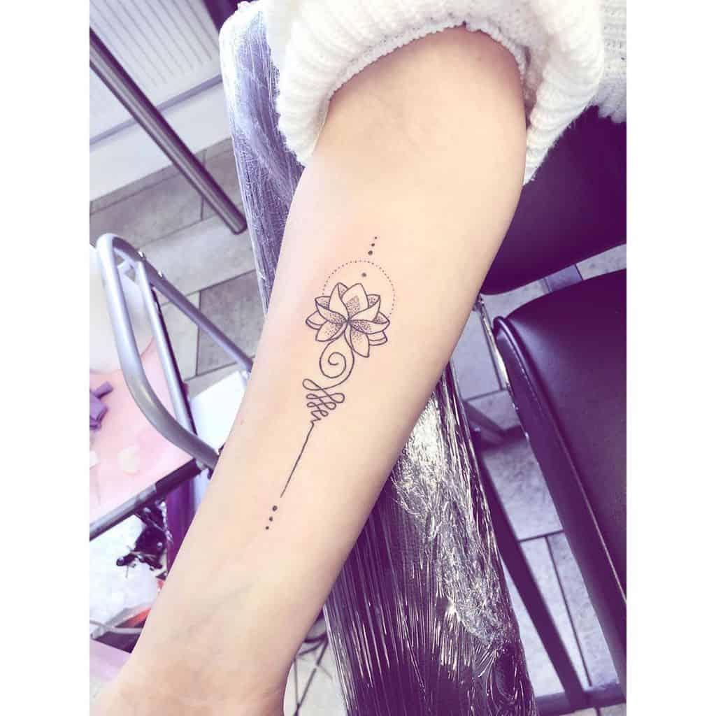 Black Work Lotus Unalome Tattoo