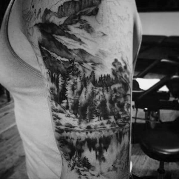 Black Work Mountain Landscape Tattoo Half Sleeve On Gentleman