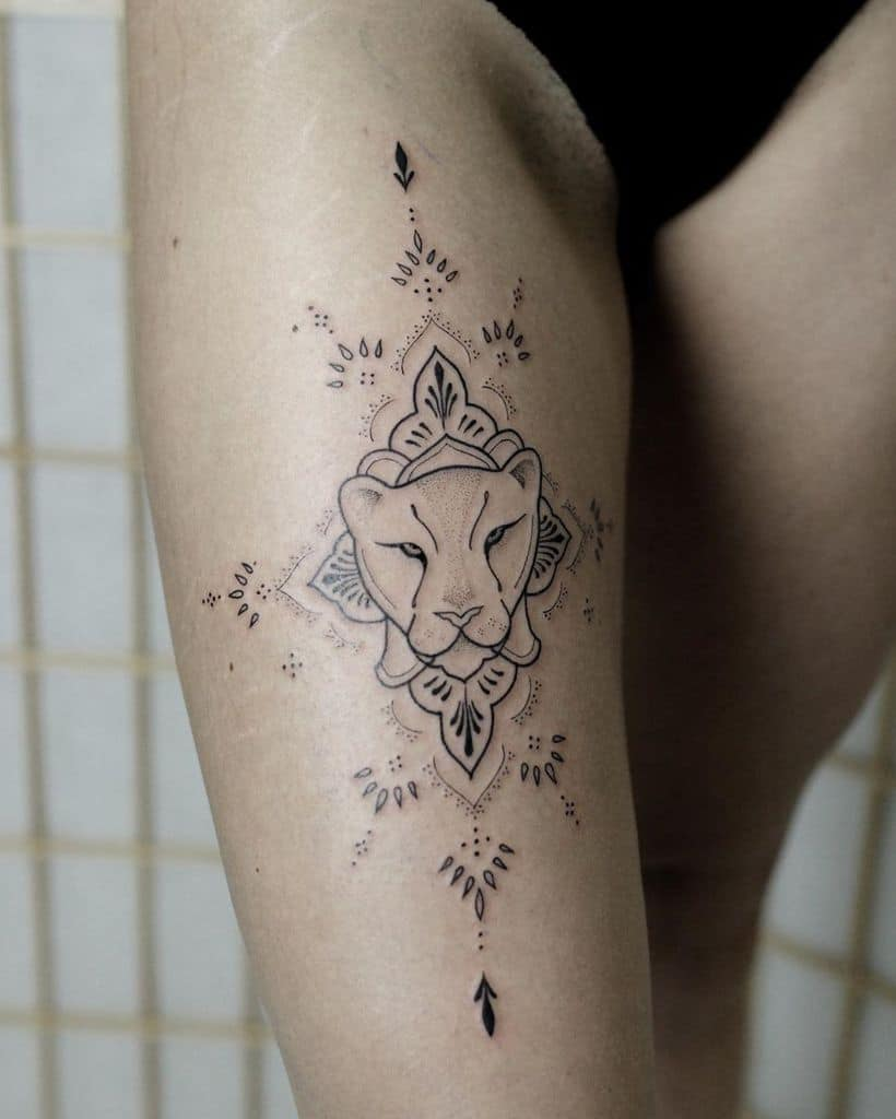 Black Work Ornamental Fine Line Lioness Tattoo