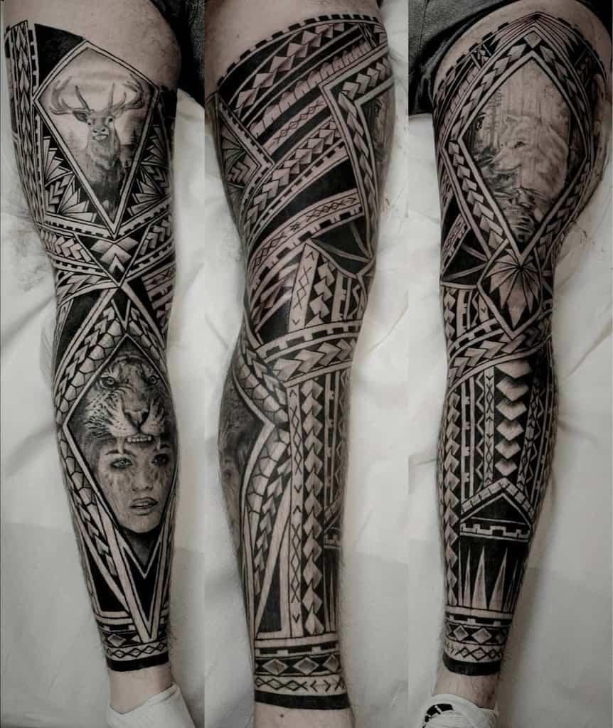 Black work polynesian realism leg sleeve tattoo