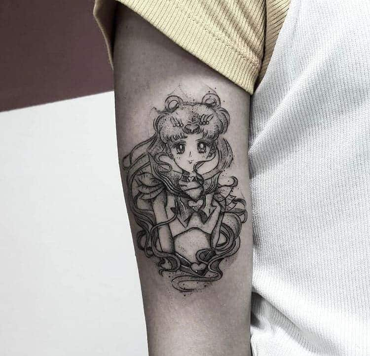 Black Work Sailor Moon Tattoo