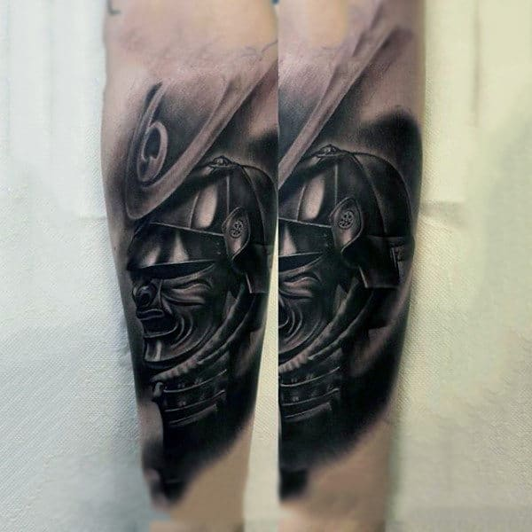Black Work Samurai Mask Classic Forearm Tattoo For Guys
