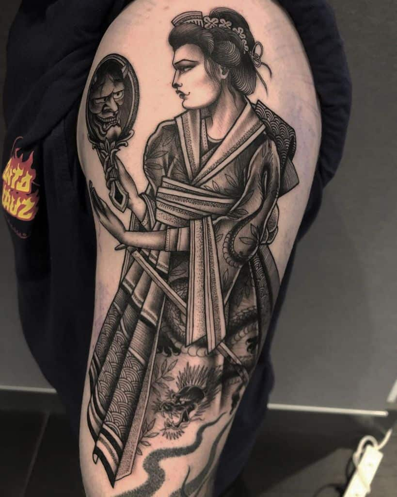 Black Worker Lady Hannya Tattoo