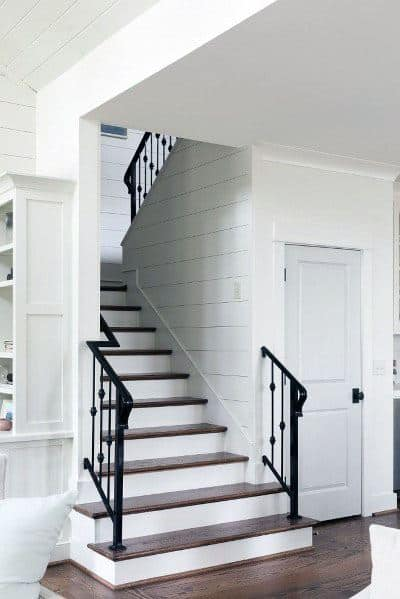 Black Wrought Iron Traditional Home Stair Railing Ideas