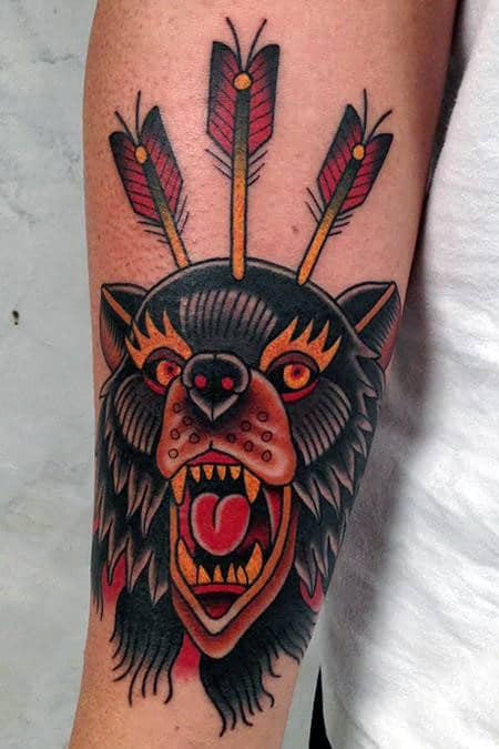 Black Yellow And Red Ink Male Traditional Bear Forearm Tattoos