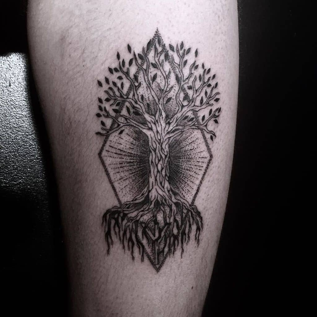 black yggdrasil tree tattoo