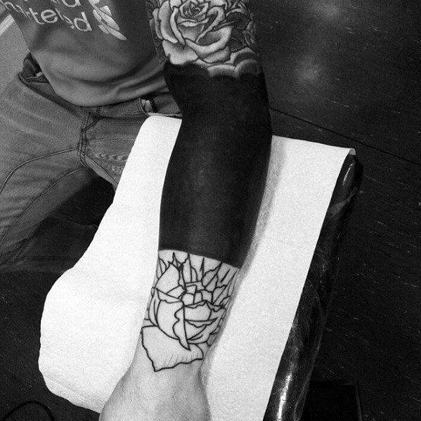 Blackout Forearm Sleeve Guys Tattoo Designs With Outline Rose Flower